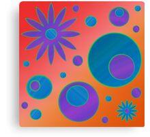 Flowers and Circles Orange, Blue, Purple Canvas Print