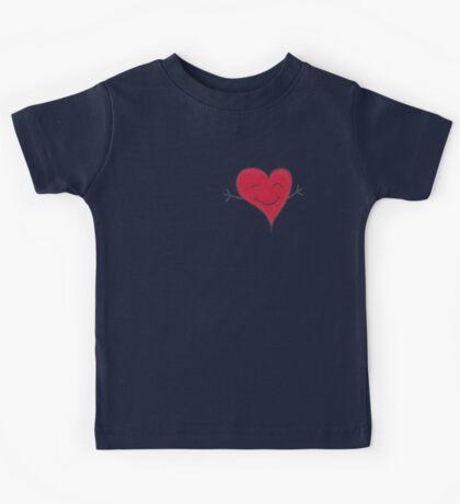 Happy Red Heart Hug Cartoon Kids Tee