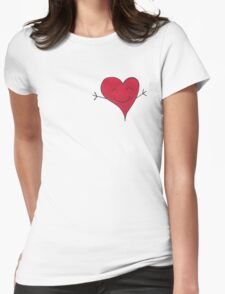 Happy Red Heart Hug Cartoon Womens Fitted T-Shirt