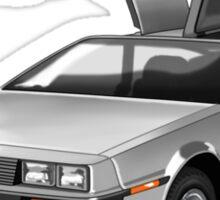 Legendary DeLorean sportscar, 80-ies symbol. Sticker