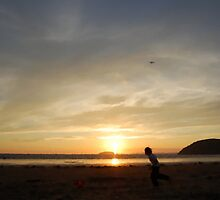 Soccer on the Beach (Brean Beach, Somerset) by Rees Adams