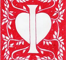 Red Heart Letter I by Donna Huntriss