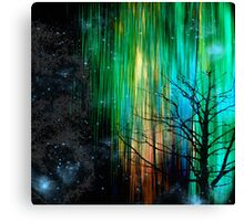 Night Lights in Aqua, Green, and Gold Canvas Print
