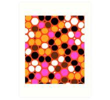 Pink orange polka dot print Art Print