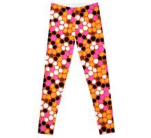Pink orange polka dot print Leggings
