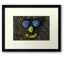 Happy Rock Face - Jungle Rock Art in Costa Rica Framed Print