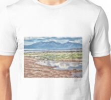 Beach Drawing with Blue Mountains Unisex T-Shirt