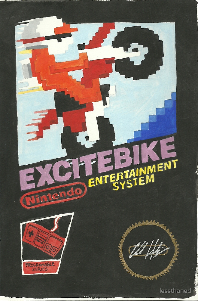 ExciteBike watercolor by lessthaned
