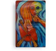 3 of Stakes Tarot Skull Face Woman Canvas Print