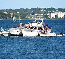 Boats Party On Narragansett Bay - Rhode Island - US by Jack McCabe
