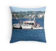 Boats Party On Narragansett Bay - Rhode Island - US Throw Pillow