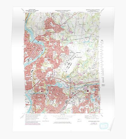 Massachusetts  USGS Historical Topo Map MA Springfield North 351331 1972 25000 Poster