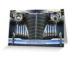 Black Cadillac Grill and Headlights Greeting Card