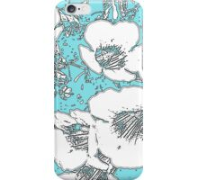 Floral Abstract-Aqua and White iPhone Case/Skin