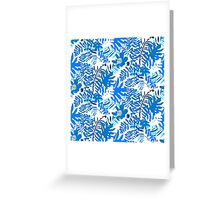 Floral pattern with tropical leaves and flowers in blue Greeting Card