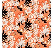 Floral pattern with tropical leaves and flowers in coral pink Photographic Print
