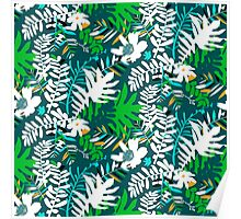 Floral pattern with tropical leaves and flowers in green Poster