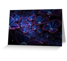Avatar blue fractal glowing flowers Greeting Card