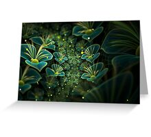 Avatar green fractal glowing flowers Greeting Card