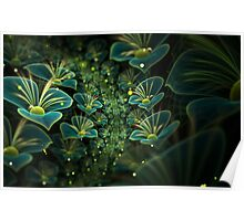Avatar green fractal glowing flowers Poster