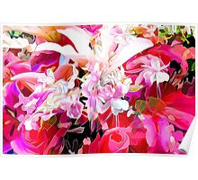 hot pink and red floral design Poster