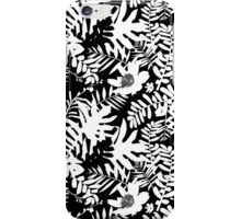 Floral pattern with tropical leaves and flowers in black and white iPhone Case/Skin