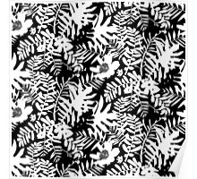 Floral pattern with tropical leaves and flowers in black and white Poster