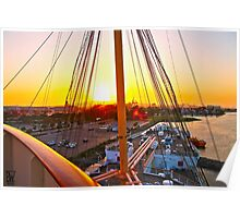 Queen Mary Sunset Over the Bow Poster