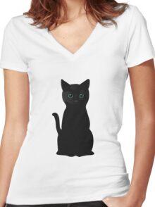 Kitten Eyes Women's Fitted V-Neck T-Shirt