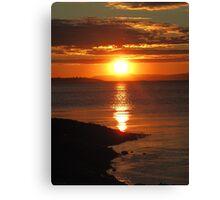 sunset over trondheim fjord  Canvas Print