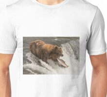 Bear about to catch salmon in mouth Unisex T-Shirt