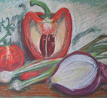 Pepper,Tomato and Onions by Geraldine M Leahy