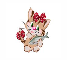 Kitty with Fish T shirt  , Tote bag and pillow (3102 Views) by aldona