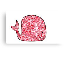 Whale: Red  Canvas Print