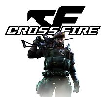 Cross fire logo + soldier Photographic Print