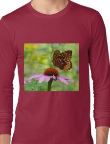 Beautiful butterfly on flower Long Sleeve T-Shirt