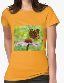 Beautiful butterfly on flower Womens Fitted T-Shirt