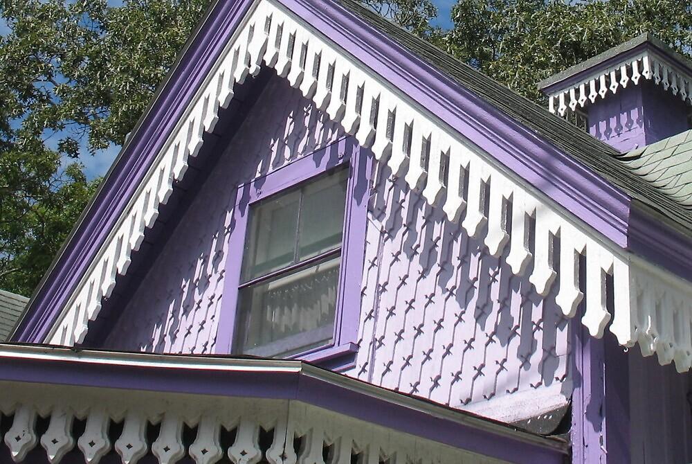 PURPLE GINGERBREAD HOUSE by Joan Harrison