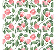 Romantic flowers. Hand drawn floral pattern. Seamless Photographic Print