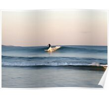 Lone Surfer at Dusk Poster