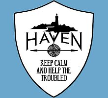 Haven Keep Calm White Badge Logo by HavenDesign