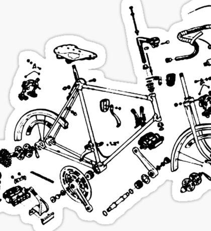 Exploded Bike Parts T-shirt Sticker
