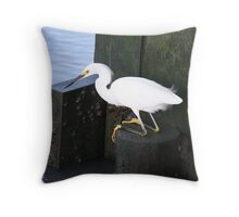 Snowy Egret Relaxing Throw Pillow