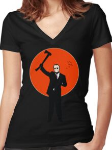 Hockey Mask and a Suit Women's Fitted V-Neck T-Shirt