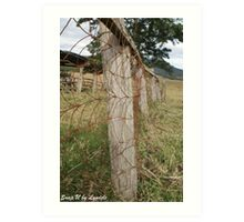 Farm Wooden Fence Line - Queensland Art Print