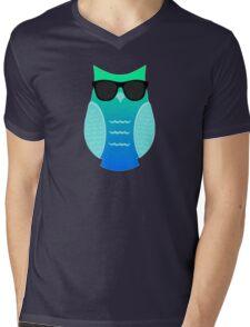 Cool Aqua Owl Mens V-Neck T-Shirt
