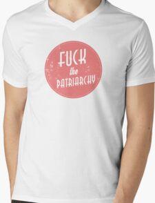 Fuck The Patriarchy Feminist Sticker Mens V-Neck T-Shirt