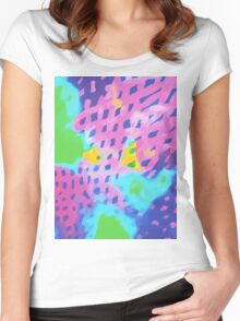 Purple Abstract Watercolor Painting Women's Fitted Scoop T-Shirt