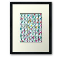Pencil & Paint Fish Scale Cutout Pattern - white, teal, yellow & pink Framed Print