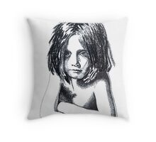 """strange little char girl"" Throw Pillow"